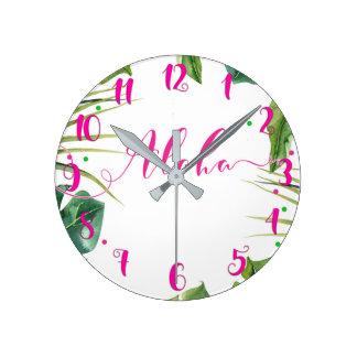 Hot Pink ALOHA Tropical Leaves Botanical Round Clock