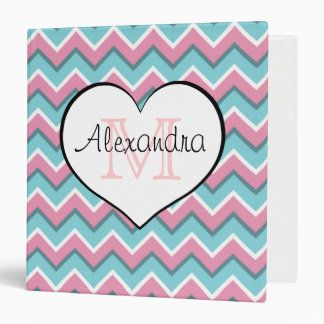hot pink and aqua blue zigzag pattern monogram 1'5 binders