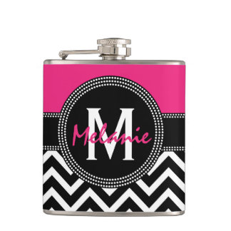 Hot Pink and Black 21st Birthday Chevron Monogram Hip Flask