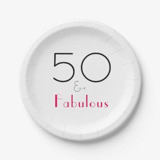 Hot Pink and Black 50 and Fabulous Paper Plate