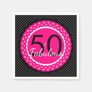 Hot Pink and Black 50 & Fabulous Birthday Party Paper Napkin