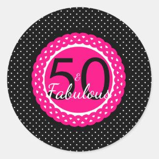 Hot Pink and Black 50 & Fabulous Birthday Sticker