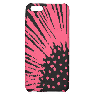 Hot Pink and Black Abstract Flower iPhone 5C Cases