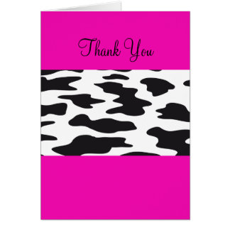 Hot Pink and Black and White Cow Thank You Card