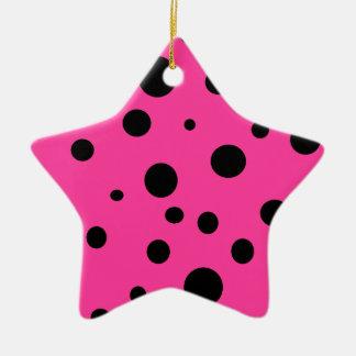 Hot Pink and Black Bubbles Polka Dots Fun Star Ceramic Star Ornament