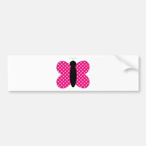 Hot Pink and Black Butterfly Bumper Stickers