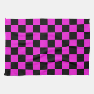Hot Pink and Black Checkerboard Pattern Kitchen Towel