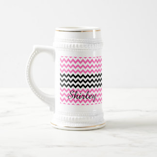 Hot Pink and Black Chevron by Shirley Taylor Beer Stein