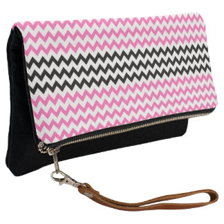 Hot Pink and Black Chevron by Shirley Taylor Clutch
