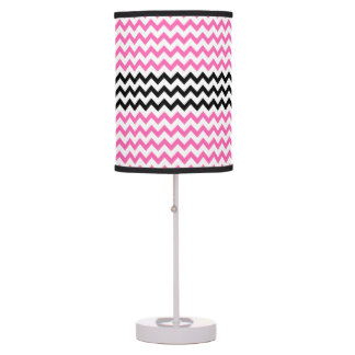 Hot Pink And Black Chevron by Shirley Taylor Table Lamp