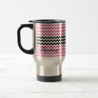 Hot Pink and Black Chevron by Shirley Taylor Travel Mug