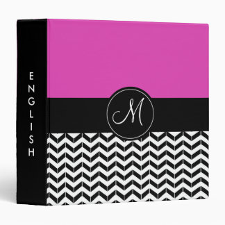 Hot Pink and Black Chevron Custom School Subject Vinyl Binder