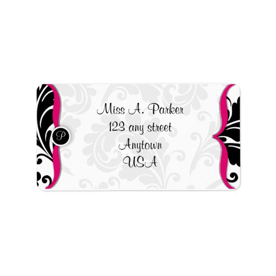 Hot Pink and black damask Address label