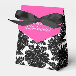 Hot Pink and Black Damask Baby Shower Favor Box