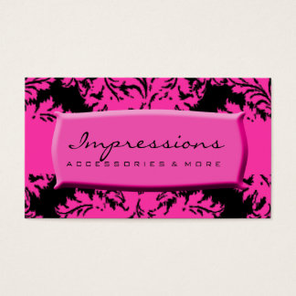 Hot Pink and Black Damask Business Card