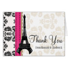 HOT PINK AND BLACK DAMASK EIFFEL TOWER THANK YOU CARD
