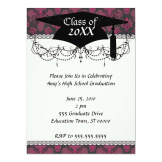 "hot pink and black damask graduation 6.5"" x 8.75"" invitation card"