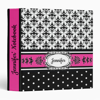 Hot Pink and Black Damask Jennifer in Paris Binders