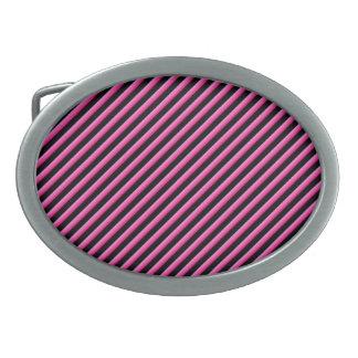 Hot Pink and Black Diagonal Striped Belt Buckles