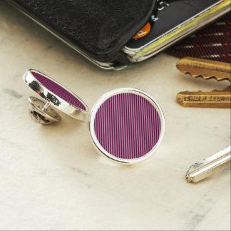 Hot Pink and Black Diagonal Striped Lapel Pin