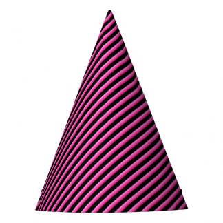 Hot Pink and Black Diagonal Striped Party Hat
