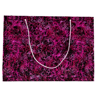 Hot Pink and Black Electric Lines 5078 Large Gift Bag