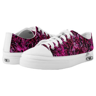 Hot Pink and Black Electric Lines 5078 Low-Top Sneakers