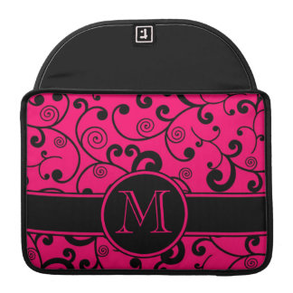 Hot Pink and Black Filigree Scroll with Monogram Sleeve For MacBook Pro