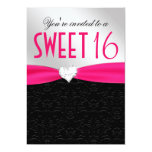 Hot Pink and Black Floral Damask Diamond Heart