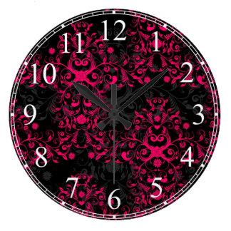 Hot Pink and Black Floral Damask Large Clock