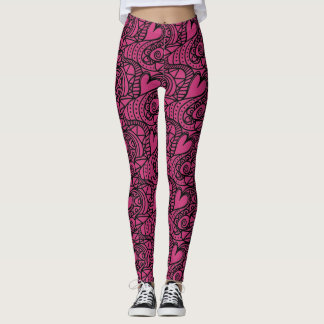 Hot Pink and Black Heart Pattern Leggings