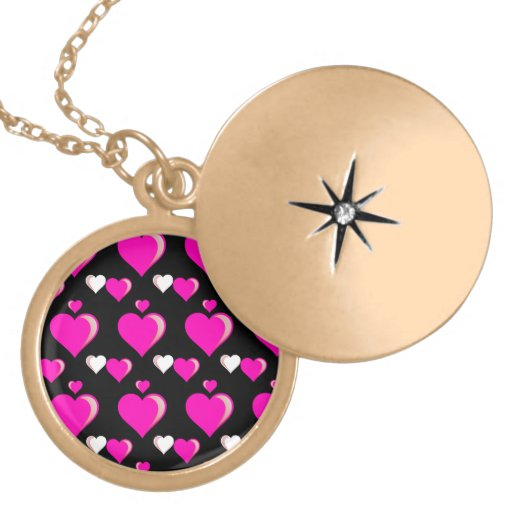 Hot Pink and Black Hearts Valentine's Day Love Necklace