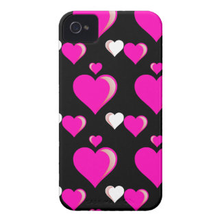 Hot Pink and Black Hearts Valentine's Day Love Pat Case-Mate iPhone 4 Case
