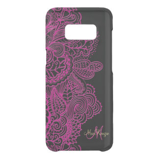 Hot Pink and Black Lace Monogram Uncommon Samsung Galaxy S8 Case