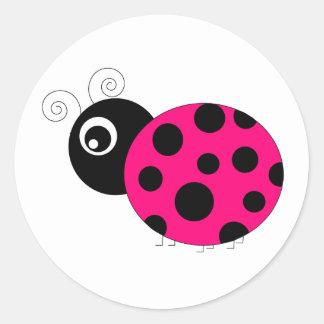 Hot Pink and Black Ladybug Round Sticker