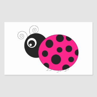 Hot Pink and Black Ladybug Sticker