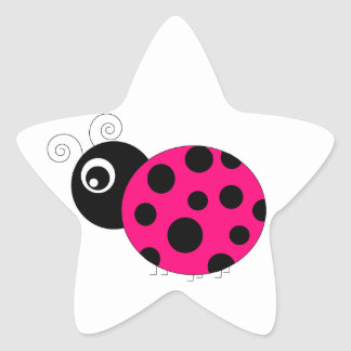 Hot Pink and Black Ladybug Stickers