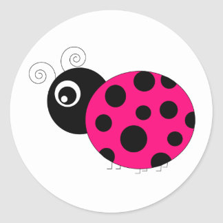 Hot Pink and Black Ladybug Round Stickers