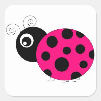 Hot Pink and Black Ladybug Square Sticker