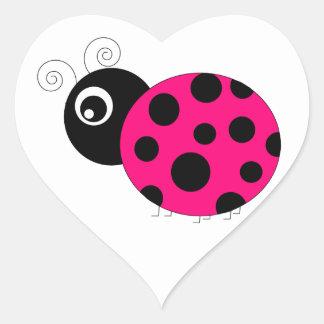 Hot Pink and Black Ladybug Heart Sticker