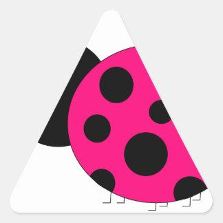 Hot Pink and Black Ladybug Triangle Sticker