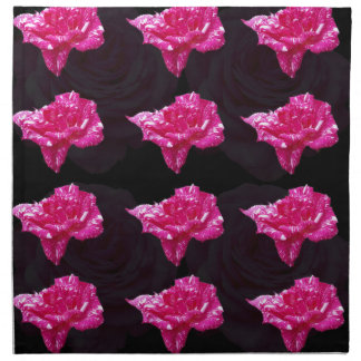 Hot Pink And Black Layer Rose Pattern, Napkin