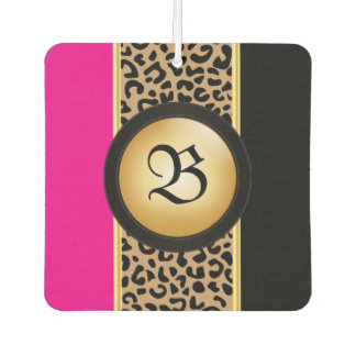 Hot Pink and Black Leopard Animal Print | Monogram Air Freshener