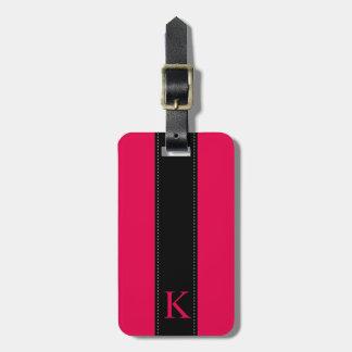 Hot Pink and Black Monogram Travel Luggage Tag