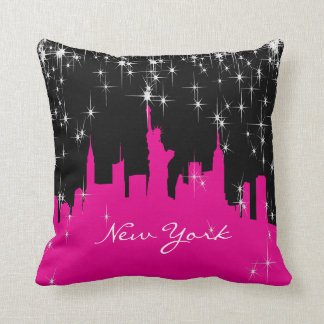 Hot Pink and Black New York Skyline Throw Pillow