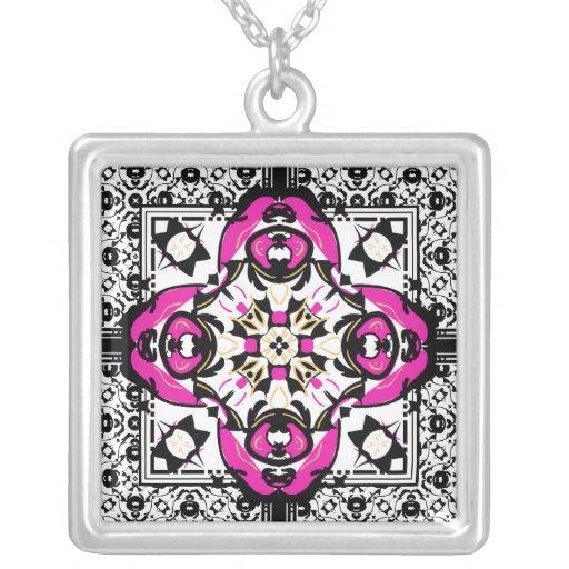 Hot Pink and Black Oriental Damask Symbol Jewelry