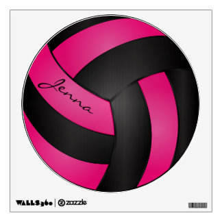 Hot Pink and Black Personalize Volleyball Wall Sticker