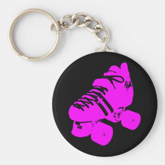 Hot Pink and Black Roller Skate Design Apparel Keychain