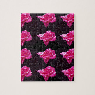 Hot Pink And Black Rose Pattern, Jigsaw Puzzle