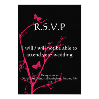 hot pink and black rsvp announcement